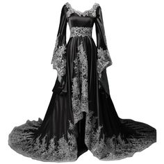 Lemai Vintage Long Sleeves Formal Evening Gowns A Line Women Gothic... ($180) ❤ liked on Polyvore featuring dresses, a line formal dresses, long sleeve a line dress, formal dresses, gothic formal dresses and goth dresses