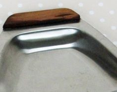 Vintage Retro 70s Daysum Foreign Stainless Steel and Wood Sandwich Cocktail Serving Tray