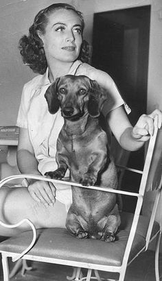 """Joan Crawford and Her Dachshund. Is anyone thinking """"Doxie Dearest"""" Joan Crawford, Dachshund Funny, Dachshund Love, Daschund, Vintage Dachshund, Scottish Terrier, I Love Dogs, Puppy Love, Chihuahua"""