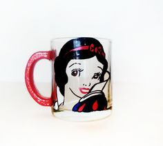 Snow white coffee mug  hand painted  red sparkly handle