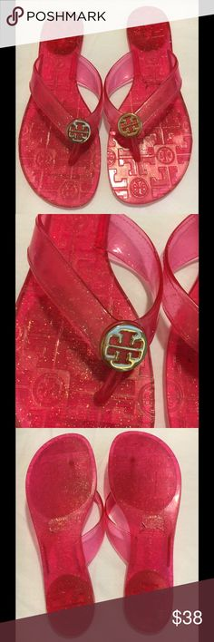 Tory Burch Emory Flip Flops Size 8 Tory Burch Pink Glitter Jelly Sandals Flipflops. Very cute.  The soles show very little signs of wear or scuffs as you can see by the photo's.  Size 8 Tory Burch Shoes Sandals