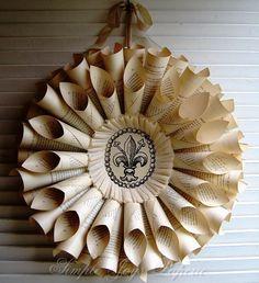 Wedding Decor Romantic Vintage French Book Paper Wreath with Fleur De Lis MTO. $65.00, via Etsy.