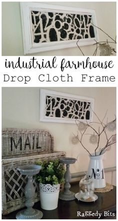 Instead of throwing out an outdated frame give it a DIY Industrial Farmhouse Drop Cloth Frame makeover. Full tutorial |…