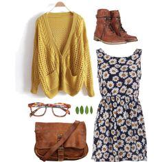 Navy dress w/ white/yellow daisy print, Mustard oversized cardi, Chestnut combat boots, Chestnut leather messenger bag