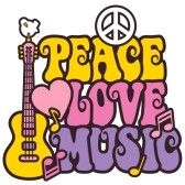 Retro-style design of a guitar, peace symbol and dove with the words Peace, Love and Music. Type style is my own design. stock photography