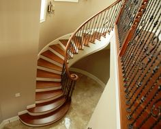 Curved Stairs Design   Interior Design. Beautiful Curved Brazilian Cherry Stairs Design With #stairway #homestairy ...