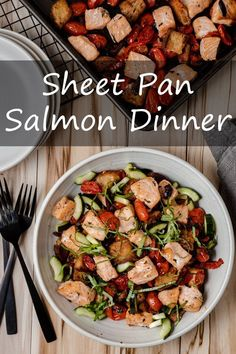 This Sheet Pan Salmon Dinner is inspired by Italian panzanella. Roasted salmon and tomatoes paired with crunchy chunks of bread, fresh cucumber, and fragrant basil creates a delicious all-in-one meal. Clam Recipes, Easy Fish Recipes, Lobster Recipes, Salmon Recipes, Easy Dinner Recipes, Seafood Recipes, Pasta Recipes, Seafood Meals, Quick Fish