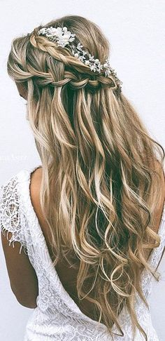 Tendance Coupe & Coiffure Femme Description 24 Favourite Wedding Hairstyles For Long Hair ❤ See more: www. Long Hair Wedding Styles, Wedding Hair Down, Wedding Hair And Makeup, Hair Makeup, Long Hair Styles, Makeup Hairstyle, Updo Styles, Short Styles, Prom Hair Down