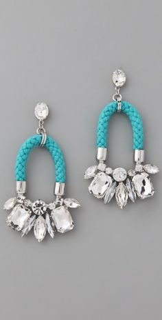 neon crystal drop earrings by noir jewelry love the contrast between rope and gems