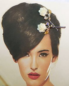 BOBBY HAIR PINS Cream Ivory Celluloid Rose AB Rhinestones