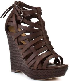 a3f761f25268 Sage - Brown Leather - Lyst Brown Wedge Sandals