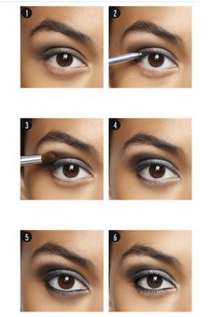 FIVE-MINUTE SMOKY EYE  Step 1: Prime with a gray cream base (try Clinique Chubby Stick for Eyes in Curvaceous Coal).    Step 2: Draw a thin line of black eyeliner across the upper lash line.    Step 3: Layer a dark gray matte shadow over the cream base for dimension.    Step 4: Use a silver shadow shade to highlight the crease and inner eye.    Step 5: Line the lower lashes, then use a slanted liner brush to top the liner with silver shadow.    Step 6: Finish with generous coats of black…