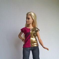 Curvy Barbie shirt with gold usage by Schaurein on Etsy