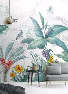 tropical leaf wallpaper removable wall mural tropical birds floral wall print Peel and Stick botanic theme Entryway wall decor cafe decor Mural Wall Art, Mural Painting, Entryway Wall Decor, Room Decor, Decoration Vitrine, Removable Wall Murals, Tropical Leaves, Tropical Birds, Tropical Plants