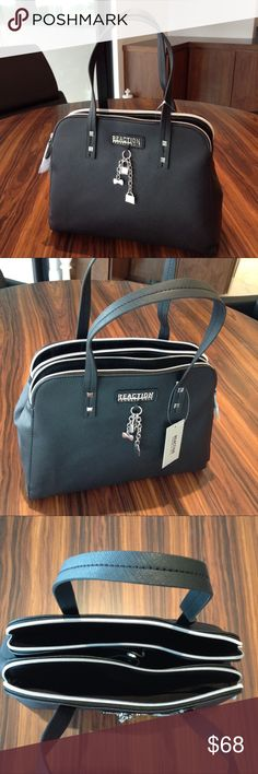 Kenneth Cole Reaction Triple Entry Handbag Classy black bag, great addition to your professional look. Ideal for those in need to stay organized and have many little things conveniently at hand!  - high quality material - silver tone hardware  - Strong straps - 3 main compartments - 2 zipped, 1 with magnet closure (3 inner pockets, 1 zipped) - Care with damp cloth or moist tissues for leather   ⚜️Consider bundling up with statement heels and styling to compliment a suited look ⚜️ Kenneth…