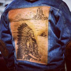 Genuine Leather.Denim jacket. Indian.