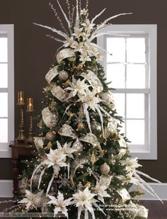 how to decorate a white christmas tree - Google Search