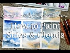 A tutorial and demo on how to paint skies and clouds with watercolor including painting a skyscape and using a sky in a landscape. Watercolor Art Lessons, Watercolor Painting Techniques, Watercolor Projects, Watercolour Tutorials, Painting Lessons, Watercolor Paintings, Watercolor Clouds, Watercolor Video, Watercolor Landscape