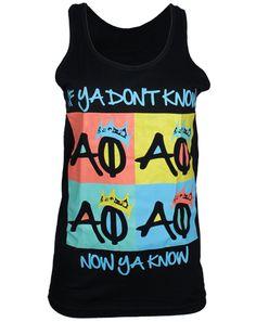 Alpha Phi Now Ya Know Tank by Adam Block Design