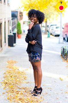 fall 2013 - sandals + patterned skirt + sweater.  big curly/kinky twisted out hair optional but recommended <3