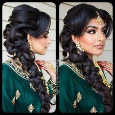 """Wedding Hairstyle For Long Hair : solah-shringar: """" Glamour Dolls Studio """" - Wedding Lande Punjabi Hairstyles, Mehndi Hairstyles, Bollywood Hairstyles, Wedding Hairstyles For Long Hair, Up Hairstyles, Gorgeous Hairstyles, Hairstyle Ideas, Wedding Hair And Makeup, Hair Makeup"""