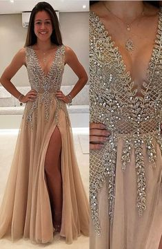 A-Line V-Neck Floor-Length Champagne Tulle Prom Dress with Beading
