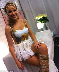 A quiet moment backstage: Minogue showed off her costume to fans unable to make the gig on her Twitter page