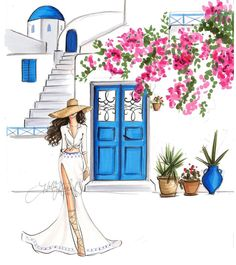 Santorini In Bloom (Fashion Illustration Foto Fashion, Fashion Art, Bloom Fashion, Art And Illustration, Illustrations, Tumblr Girly, Art Sketches, Art Drawings, Canvas Wall Art