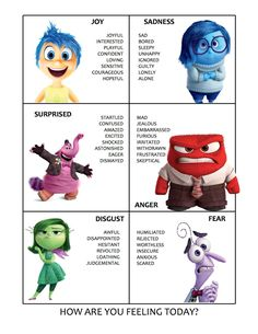 19 Super-Interesting Facts About Pixars Inside Out My sister made a great feelings chart with the inside out characters to help her kids express what theyre feeling better. I feel like adults could totally use this too :) Whats Cookin Sister? Inside Out Emotions, Feelings And Emotions, Inside Out Characters, Feelings Chart For Adults, Feelings Wheel, Zones Of Regulation, Emotional Regulation, Coping Skills, Social Skills