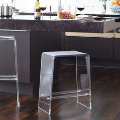 Seating - Our acrylic counter stool delivers an airy aesthetic and offers a minimalist seating option for a space. Acrylic with built in footrests. Acrylic Counter Stools, Counter Bar Stools, Kitchen Stools, Kitchen Island, Acrylic Furniture, Modern Bar Stools, Traditional Furniture, Living Room Chairs, Foot Rest