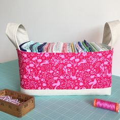 """After I received Sarah Jane's latest  """"Magic fabric"""", I decided it was time to make an hour basket for all my Sarah's fabric."""