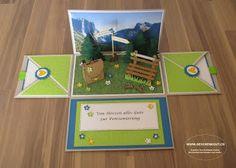 Pensionierung Geschenkbox Explosionsbox Überraschungsbox mit Berge Berglandschaft Wanderferien Wanderausflug Feriengutschein Reisegutschein