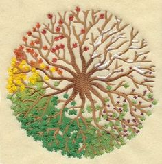 tree in four seasons, mandala - Machine Embroidery Designs at Embroidery Library! Machine Embroidery Designs, Embroidery Stitches, Embroidery Patterns, Hand Embroidery, Eyebrow Embroidery, Patchwork Quilting, Bordados E Cia, Tree Designs, Green Man