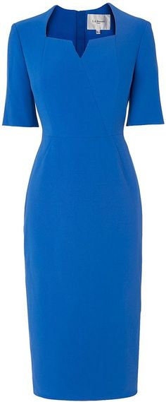 """L.K. Bennett Sam Tailored Blue Dress. An updated version of the """"Detroit"""" dress Kate wore from the same company."""