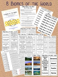 8 Major Biomes of the World 13 pages including a quiz with answer key from Making_It_Teacher on TeachersNotebook.com (13 pages)