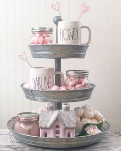 Tiered trays to hold Valentine Collections! Great way to display your Valentine Style! Diy Home Decor Rustic, Farmhouse Decor, Farmhouse Style, Modern Farmhouse, Farmhouse Ideas, Country Style, Tray Decor, Decoration Table, Centerpiece Ideas