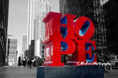HOPE. Hope Sculpture, Photography, Art Print, Home, Wall Decor, New York City, Black and White, Red, Living Room, Bedroom Sizes Available from 5x7 to 20x30. We could all use a little hope! Here stands the bold red colors of hope against black and white New York City streets, reminds you to always keep Hope in focus!***Quality Photographs are professionally printed in a NYC photo lab on professional photograph paper. We use Luster paper which has a slight sheen and an ultra fine texture...