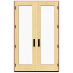 JELD-WEN 59.25 in. x 95.5 in. W-4500 Mesa Red Right Hand Inswing French Wood Patio Door