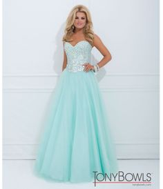 Tony Bowls 2014 Prom Dresses - Mint Jeweled Strapless Sweetheart Tulle Gown - Unique Vintage - Prom dresses, retro dresses, retro swimsuits.