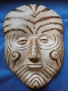 Maori Face Mask Plaque Tribal Haka War Paint Clay Pottery New Zealand Collectors | eBay