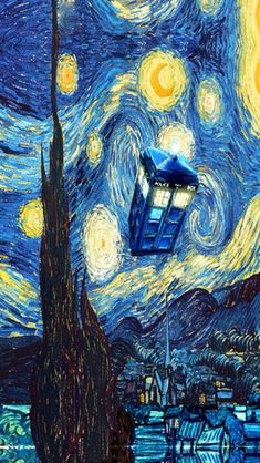 Live How to paint Van Gogh Starry Night with Tardis from Doctor Who art lesson Iphone Wallpaper, Starry Night, Van Gogh Wallpaper, Wallpaper, Doctor Who Wallpaper, Painting, Starry, Art, Purchasing Art