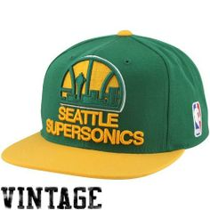 Seattle Supersonics Sonics Mitchell & Ness XL Logo 2 Tone Snapback Green and Yellow Hat by Mitchell & Ness. $25.95. NBA Logo Embroidered on Left Side. Green Undervisor. Mitchell & Ness Wordmark Embroidered On Back. Raised Embroidery on Front. 80% Acrylic, 20% Wool Adjustable Snap Back Cap. Mitchell & Ness Oklahoma City Thunder XL Logo Two Tone Snapback Hat - Green/Gold80% Acrylic/20% WoolAdjustable plastic snap strapFlat billQuality embroideryContrast color accentsImportedOffic...