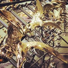 A flock of brass birds in from plating. #design