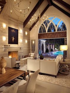 Modern-Gothic pool house with amazing wine cellar... My dream house, right here.