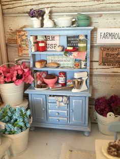 Farmhouse Collection Miniature Vintage Farmhouse Blue Distressed Kitchen Cupboard- 1/12 scale dollhouse