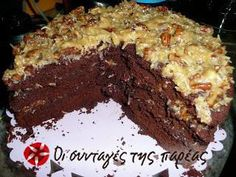 German Chocolate Cake, The Joy of Cooking recipe. Cookbook Recipes, Cake Recipes, Dessert Recipes, Cooking Recipes, Dessert Ideas, Coconut Pecan Frosting, Greek Desserts, Greek Recipes, Chocolate Sweets