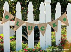 St Patricks Day Burlap Banner REVERSIBLE for St by SawdustMarket, $30.00