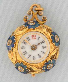 Bogoff Antique Pocket Watches Exhibition Back 18K Enamel Diamond Ball Watch - Bogoff Antique Pocket Watch # 6809