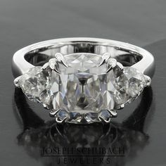 Style 103397 Casablanca custom made three stone ring with trillion side stones and filigree gallery Asscher Cut, Three Stone Rings, Dream Ring, Casablanca, Filigree, Wedding Bands, Engagement Rings, Jewels, Antiques