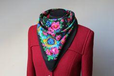 Vintage wool shawl.Russian Shawl.Floral by StyleVintageShop
